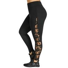Nouveau Haut Élastique Taille Leggings Femmes Sexy Criss Cross Plus La  Taille Dentelle Panneau Leggings D 9cdf4077acb