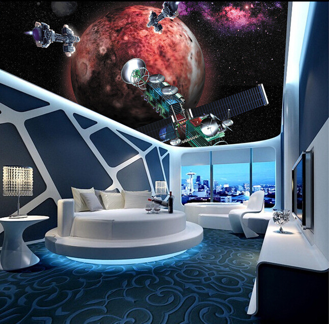 Custom papel DE parede 3 d, star and space shuttle for the living room bedroom ceiling wall waterproof wallpaper<br>