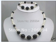 fashion jewelry set 7-8mm real Freshwater cultured pearl black onyx necklace bracelet  free shipping