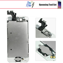 For iphone 5 5g 5s 5c 6 6 plus lcd display touch screen with digitizer home button front camera speaker assembly  + gift