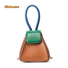Hiatema Pyramid CLUTCH with Chain Women's PU Leather Triangle Shape Stylish Design Small Casual Bag Cross Body Bag Purse(China)