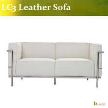 U-BEST white Le Corbusier Soft LC3 loveseat,cleassic ,LC3 2-seater genuine leather sofa,LC3 living room sofa(China)