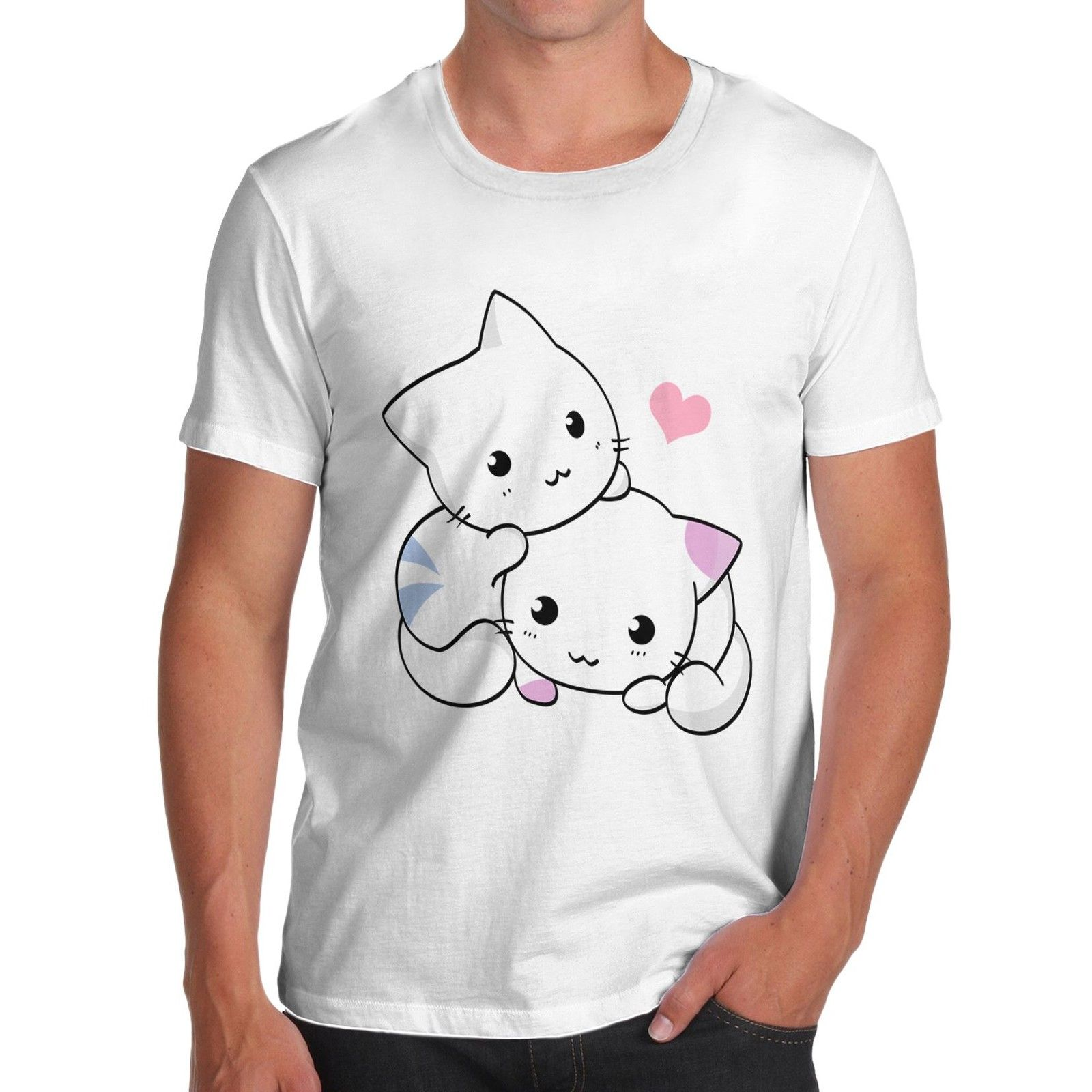 Design t shirt graphics online - Online T Shirt Design Graphic Crew Neck Cotton Novelty Funny Design Loveable Cute Cats Short Sleeve
