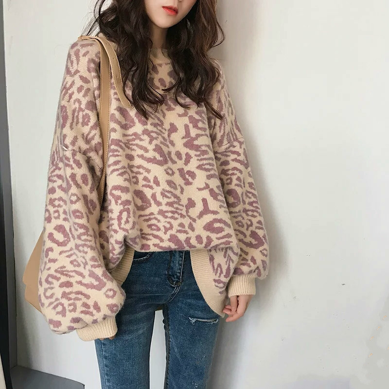 SHENGPALAE Leopard Print Woman Pullover 2019 Spring Clothing New Pattern Korean Knitting Sweater Tide O-neck FF782