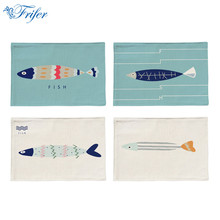 Fish Pattern Cotton Linen Placemat Washable Printed Table Mat Heat-insulation Cloth Dining Table Pad 44x28cm Kitchen Accessories