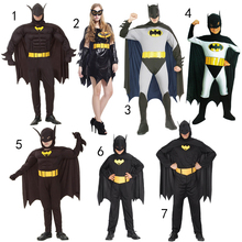 Halloween children's clothing adult male and female adult bat Batman Spider Man Costume cloak clothes(China)