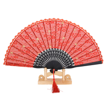 New Retro Lace Trim Bamboo Hand Fan Folding Fan Dancing Party Fan Wedding Party Favors Decorations Wedding Suppies(China)