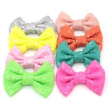 100 pcs/lot DHL 4'' Handmade Sequin Messy Bow without clips, Sequin Bows For DIY Children Headbands, Hair Accessory, Headwear(China)