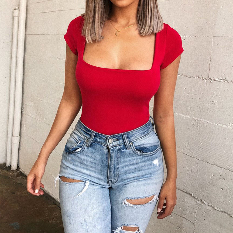 Women\'s Summer Bodysuit White Red Office Ladies Bodysuit Woman Sexy Short Sleeve Casual Body Tops Playsuit Clubwear Body Suits