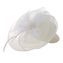 Cream Feather Mini Top Hat Organza Mesh Hair Clip Veil Fascinator Bridal Wedding(China)