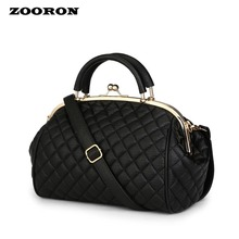 ZOORON Women Single Shoulder Bag PU leather designer Handbag Contracted Diamond Lattice Steel Clamp Dinner high quality Packages(China)