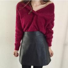 Clobee 2017 women clothing fall autumn sweater strapless plush mink knitting pullovers femme blusa tricot loose sexy charm J4