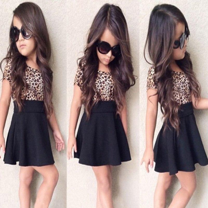Kid Girls Leopard Short Sleeve Tutu Dress Summer Autumn O-neck Sundress 2-6 Years<br><br>Aliexpress