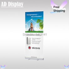 Free Shipping 85*200cm Standard Portable Full Aluminum Pull Up Banner Exhibition Display Stand With Vinyl Fabric Printing(China)