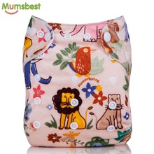 [Mumsbest] Baby Autumn & Winter Cloth Diapers Pocket Character Bamboo Velour Fitted Cloth Nappies Washable Reusable Diaper Cover(China)