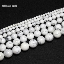 Wholesale Howlite Wite  Natural Stone Beads For Jewelry Making  DIY Necklace Bracelet  4/ 6/ 8/10/12 mm Strand 15''