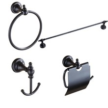 Black Oil Rubbed Brass Bathroom Accessories Set,Robe hook,Paper Holder,Towel Bar,Towel Ring,bathroom Fitting aset002(China)