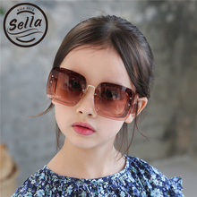 Sella European Style Fashion Kids Sunglasses Transparent Frame Oversized Square Sun Glasses Boys Girls Summer Brand Designer(China)