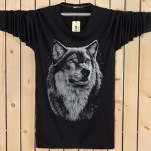 Plus Size M-6XL 2016 autumn and winter cotton long sleeved male T-Shirt fashion brand men's t shirt wolf pattern free shipping