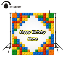 Allenjoy photography background Colorful Building Blocks Birthday theme backdrop photo studio camera fotografica
