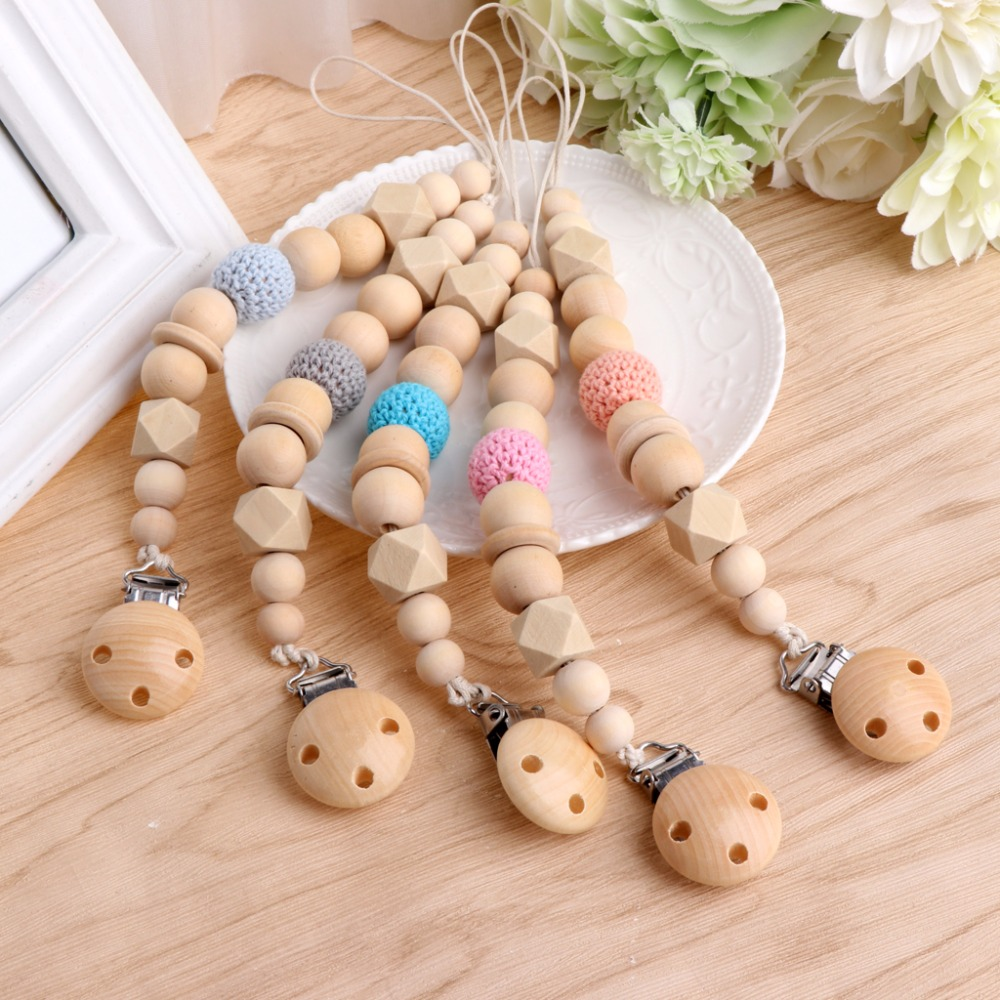 OOTDTY Baby Infant Dummy Pacifier Infant Baby Soother Nipple Shield Wood Chain Clip Holder DIY Gift