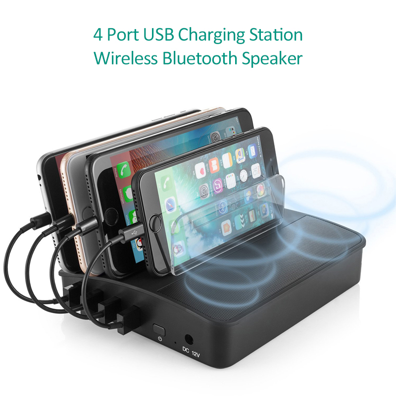 TESSIN 4 Port USB Charger 30W Bluetooth Speakers Charging Station For IPhone IPad Samsung Huawei Xiaomi LG Holder Power Adapter