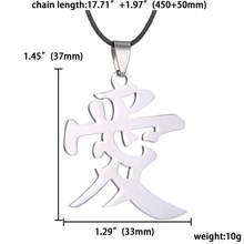 new arrival 316L Stainless Steel Steel Mens Chinese characters pendant Necklaces free leather chain love necklaces jewelry