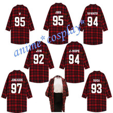 Bts Shirt BANGTANG BOYS Plaid Shirts JUNG KOOK Suga Three-Quarter Sleeve T-shirt(China)