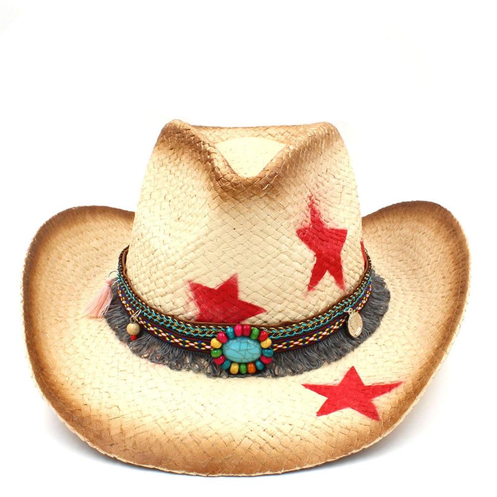 1772bad7d4f Fashion Women Western Cowboy Hat With Tassel Ribbon Star Fashion ...