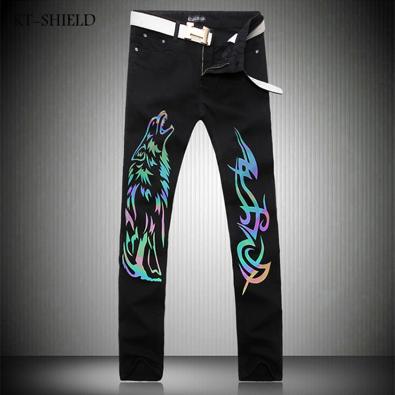 Black Skinny Jeans Men Fashion Wolf 3D Printed Animal Painted Stretch Denim Jeans Men Slim Fit Light Color Luminous Shiny JeansÎäåæäà è àêñåññóàðû<br><br>