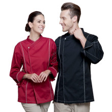 (5 get 10% off,10 get apron)High-end man/woman chef wear uniform clothes wine red long sleeve restaurant hotel kitchen coverall