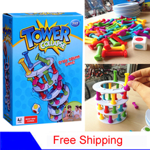 Hot Ins Boom Boom Tower Collapse Family Funny Game.28*21 cm table Building play blocks eiffel tower Pisa tower(China)