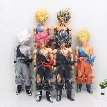 34cm Dragon Ball Z figure Son Goku Super Saiyan Master Stars Piece Grey Colorful style PVC Action Figure Collectible Model Toy(China)