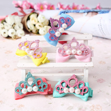 Stylish Headwear Hairpins Children Accessories Hair Pin Shiny Leather Crown with Pearl Barrettes Baby Girls Ribbon Bow Hair clip(China)