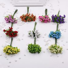 Cheap 12pcs/lot Plastic Artificial Stamen Flowers Bouquet For Wedding Decoration Scrapbooking Decorative Garland Fake Flowers