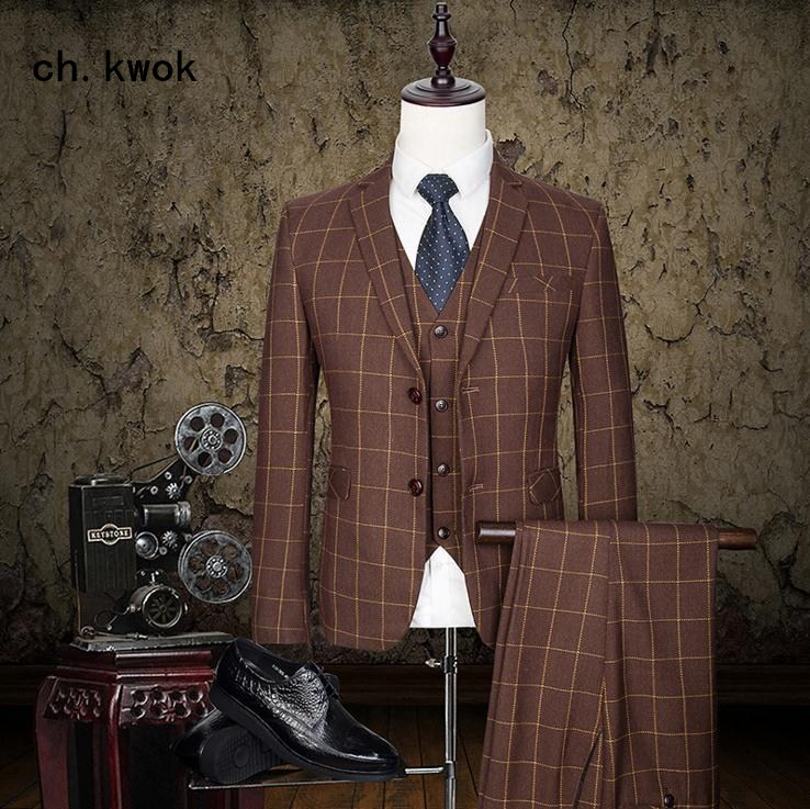 CH.KWOK Custom Made Mens Suit Slim Fit Business dress classic checkered three-piece suits Men 3 Pieces Jacket+Vest+Pants