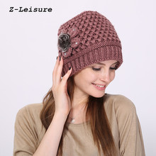 Women Winter Beanie Hat Faux Fur Knitted Hat Mid-aged Female Skullies & Beanies Hats for Women WKC003(China)