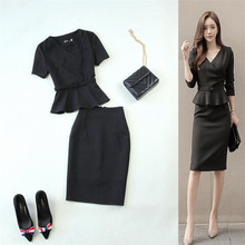 2017 New fashion business women's office suit skirt with Half sleeves blazer set plus size jacket and skirts work wear uniform