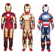 Kids Halloween muscle iron man costume Children's birthday festival Movie Cartoon Cosplay Costume Carnival Costumes(China)