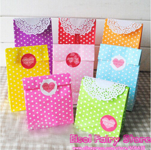New! Stand up Colorful Polka Dots Paper Bags, 18x9x6cm Party Favor Bag, Open Top Treat Bag Paper Gift Bag, 50pcs