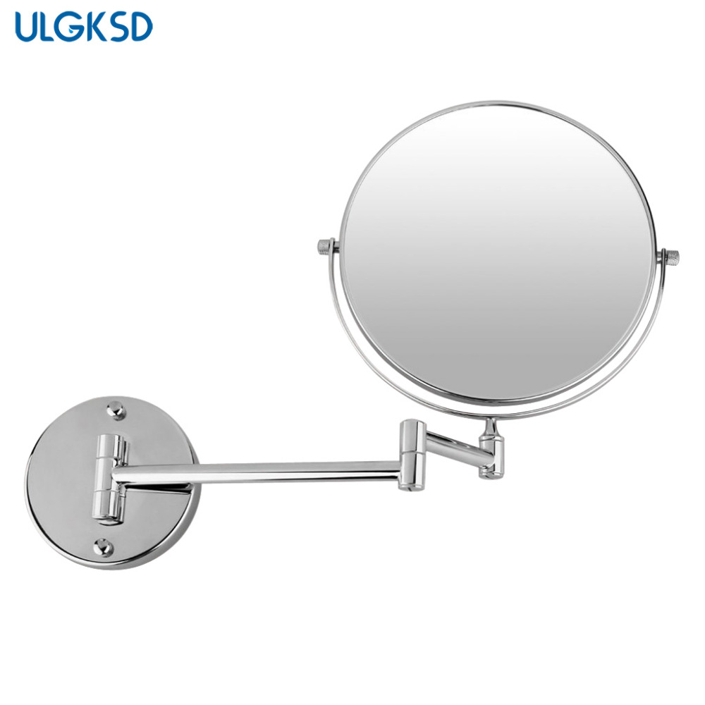 ULGKSD Chrome Copper Bathroom Makeup Mirror  Wall Mounted Extended Folding Arm Bathroom Mirror <br>