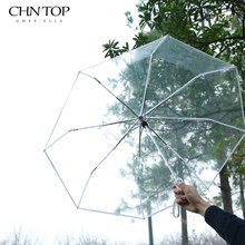 New Brand Transparent Umbrella Sunny/Rainy Women Female 3 Folding Umbrella Parapluie Fully-Automatic 8 Colors Ladies Umbrellas(China)