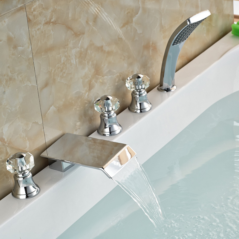 Polished Chrome Widespread 5pcs Waterfall Bathtub Faucet Set Deck Mount with Handheld Shower 3 Cristal Handles<br><br>Aliexpress