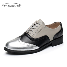 Genuine leather big woman US size 11 designer vintage flat shoes handmade silver black grey oxford shoes for women with fur(China)
