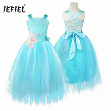 iEFiEL 6 colors Teenage Child Party Pageant Formal Flower girls Tulle Lace dress Wedding Princess Bridal Crossed Back Prom dress