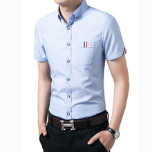 2016 summer new business men short sleeve fashion casual shirt short-sleeved shirt tide male Cheap wholesale Navy blue white