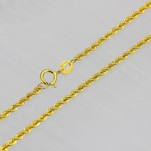 New Real 18k Yellow Gold Chain Women Men Luck 2mmW Rope Chain Necklace(China)
