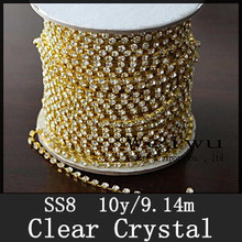 SS8 10 Yards Golden Base Sew On Strass Chain Clear Crystal Rhinestone Cup Chain For Diy Decoration
