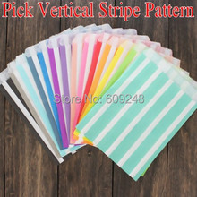 100pcs Mixed Colors Aqua Black Blue Red Purple Navy Green Orange Yellow Pink Vertical Stripe Party Kids Candy Paper Favor Bags