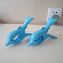1 pair/set Durable strong plastic ABS Beach towel clips dolphin cartoon clip Keep Your Towel from Blowing Away